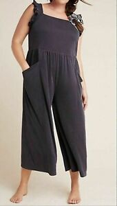 NWT Anthropologie Saturday Sunday Billie Ribbed Cupro Jumpsuit Black Petites MP