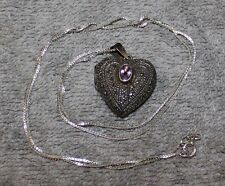 VINTAGE MARCASITE STERLING SILVER HEART WITH AMETHYST AND STERLING CHAIN