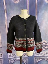 Tally Ho 100% Wool Charcoal Fair Isle Sweater Jacket SMALL Button Down Winter