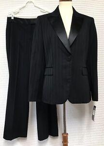 Tahari Arthur S Levine Sz 12 Black Striped 2 Pc Suit Blazer Wide Leg Pants NWT