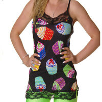 PRINTED LACE STRAPPY VEST DRESS TOP EVIL SKULL CUP CAKES  GOTH  ALTERNATIVE