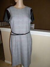 ELLEN TRACY Career Dress Black White Plaid Belted  10 NWT  $139
