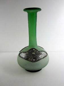 Beautiful Oriental Vase Glas With Metal Fitting Green Mouth-Blown