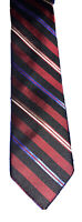 Authentic Ben Sherman Pure Silk Men's Neck Tie Red Blue White Striped