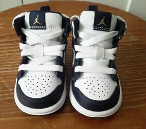 2019 Toddler Air Jordan 1 Mid White/Metallic Gold/Obsidian Sneakers