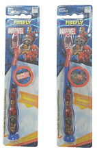 New Marvel Heroes Toothbrush With Cap Soft Blue Suction Cup Base Set of 2