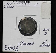 1885 Canada Five Cents Sterling Silver F KM# 2 ASW: 0.0346oz Holed