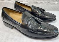 DOCKER'S Men's BLACK Woven Leather Tasseled Dress Liafers Slip Ons 12M US