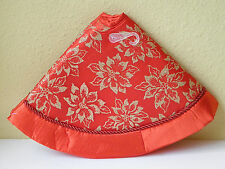 """18"""" CHRISTMAS Feather Mini Tree Skirt ~ Red Satin with Gold Poinsettia ~ NEW"""