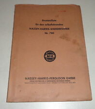 Parts Catalog Massey - Harris -ferguson Combine Harvester No. 780