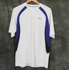 Reebok White Blue & Black Active Wear Shirt Play Dry Men's Size Large L