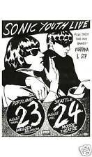 Grunge: Sonic Youth & Early Nirvana at Seattle Concert Poster Circa Early 1980s