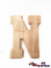"""Large Oak Wood Alphabet Letter """"N"""" Natural Brown Uppercase Home Decor Art Craft"""