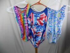 Lot of 3 Justice Mondor Dance Leotard Size 8 - 10 Floral Tye Dye USA