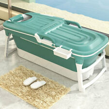 More details for folding bathtub adult kid water spa sauna soaking portable barrel with lid green
