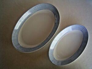 Zwei ovale Arzberg Bastdekor Schalen blau 50 / 60er Jahre Designklassiker