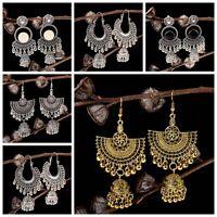 Vintage Bohemian Engrave Bell Tassel Drop Dangle Earrings Indian Jewellery