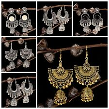 Vintage Bohemian Engrave Bell Tassel Drop Dangle Earrings Indian Jewellery