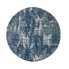 10'x10' Blue Abstract Design Wool And Pure Silk Hand Knotted Round Rug R48504