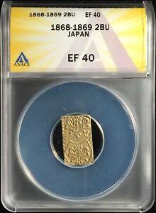1868-1869 JAPAN 2 BU == Gold & Silver == C#21d == ANACS XF40 == Emp. Mutsuhito !