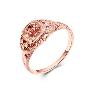 14K Rose Gold Pave Setting Round Cut 4mm Semi Mount Antique/Vintage Jewelry Ring