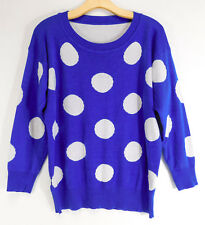 EFOLIN Design KOREAN Origin Luxuriously Soft SWEATER Blue Polka Dot WOMEN MEDIUM