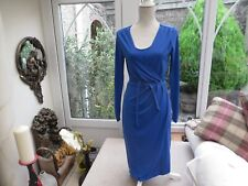 M & S ladies cornflower blue lined stylish mock wrap dress stretch  classy 6/8