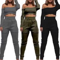 Damen Schulterfrei Fitness Yoga Sport Joggen Legging Hose Outfit Set Tragen 2pc