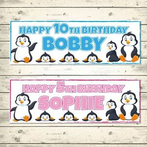 2 PERSONALISED PENGUINS BIRTHDAY BANNERS  - ANY NAME/AGE/MESSAGE