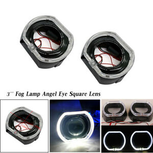 3'' White Car Headlight Fog Lamp Angel Eye Square Lens Decor Light Guide Cover
