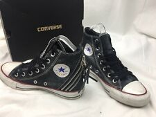 Ladies All Star Converse Chuck Taylor Black Zip Design Hi Tops Trainers Size 4'