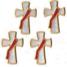 Deacon Cross Embroidered Iron-on Patches - package of 4