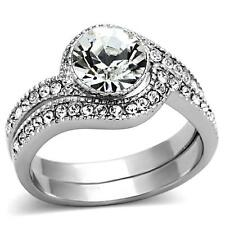 2 Pc Ring Band Guard Set Women'S Round Cz Stainless Steel Wedding Engagement