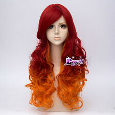 65CM Red Mixed Yellow Long Curly Hair Lolita Heat Resistant Ombre Cosplay Wig