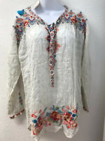 NWT Johnny Was Gina Blouse Embroidered Shirt Top M Long Tab Sleeve Shell