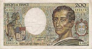 Billet de 200 f. Montesquieu de 1984 E.022 dans son jus F 70/4