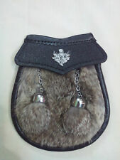 Boys Kilt Sporran Grey Rabbit Fur Thistle/Child's Sporran Leather/Baby Sporrans