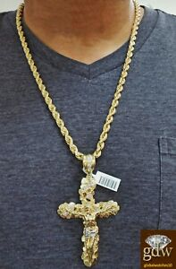 """Real 10k Yellow Gold Rope Chain 26"""" 7mm And Real 10k Jesus Cross Charm pendant"""