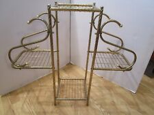 """Vintage Gold Tone twisted Tubular Steel Stand 4 Tiered Plant 1960's Atomic 33¼""""W"""