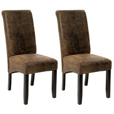 2x Chaise de salle à manger chaises meuble Simili-Cuir aspect Vieilli / Daim