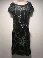 Next Black Side Zip Short Sleeve Sheath Dress - Size 8 (110g)