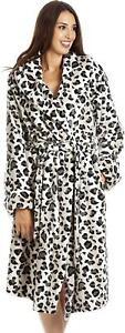 Camille Womens Grey Snow Leopard Animal Print Supersoft Bathrobe