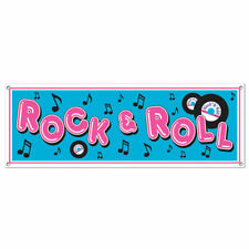 ROCK AND ROLL BANNER SIGN 50'S 60'S PHOTO BACKDROP RECORDS MUSIC NOTES & N