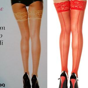 Music Legs Thigh High Stockings Lace Topper Plus Backseam Queen Beige Red 4119Q