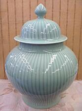 "Large Celadon Glazed Bamboo Design Chinese Porcelain Ginger Jar Vase 15""h x 12""w"