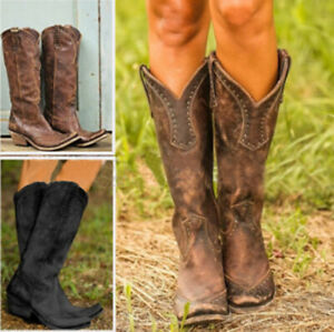 Women Western Boots Cowgirl Cowboy Knee High Round Toe Low Block Heel Rivet Retr
