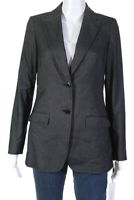Calvin Klein Womens Two Button Notched Collar Blazer Dark Gray Size 8