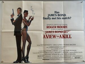 A View To A Kill Original UK Quad Film Poster (1985) White Style James Bond