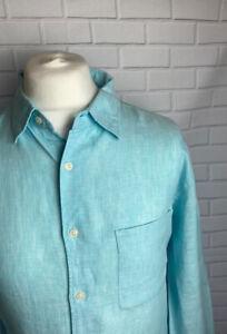 Uniqlo Shirt Light Blue XL Linen Button Cuff Regular Fit