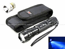 """SpiderFire Ultraviolet UV 3W CREE LED CR123A/18650 Torch w/ 1""""-2"""" Belt Pouch X6V"""
